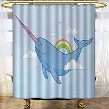narwhal fabric shower curtains
