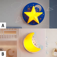 Wooden Star Moon Wall Lamp Kids Nursing Room Single Light Led Wall Light Sconce In Yellow Beautifulhalo Com