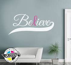 Believe Ribbon Breast Cancer Awareness Wall Decal Etsy