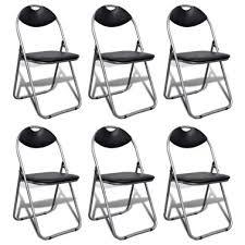 vidaxl folding chairs 6 pcs faux