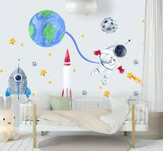 Amazon Com Murwall Kids Wall Decal For Boys Wall Decals Watercolor Space Wall Stickers Red Blue Rocket Peel N Stick For Nursery Removable Decals Handmade