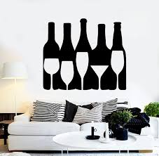 Amazon Com Large Vinyl Wall Decal Wine Alcohol Bottle Bar Drink Glass Stickers Large Decor Ig4551 Black Home Kitchen