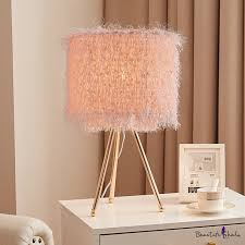 Cylinder Kids Room Desk Lighting Metal Single Head Nordic Night Light With Tripod Design In White Pink Beautifulhalo Com