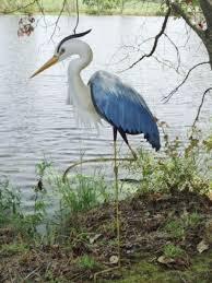 blue heron garden statue metal coastal