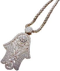 rose gold cz hamsa pendant necklace