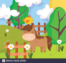 Horse With Chick In Head Wooden Fence Flowers Farm Animal Cartoon Vector Illustration Stock Vector Image Art Alamy