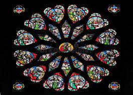 stained glass window in saint eustache
