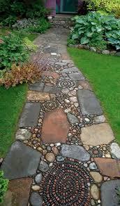pebble mosaic stone garden paths