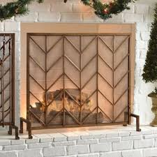 antiqued 3 panel brass fireplace screen
