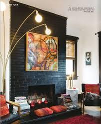 painted black fireplace vintage light