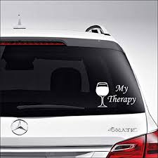Amazon Com Aampco Decals Wine Glass My Therapy Car Truck Motorcycle Windows Bumper Wall Decor Vinyl Decal Sticker Size 8 Inch 20 Cm Wide Color Matte White