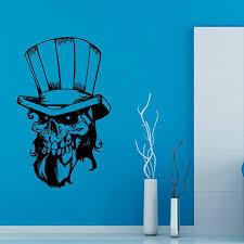 Shop Skull With Hat Skeleton Vinyl Decal Sticker Interior Design Living Room Art Boy Kids Room Sticker Decal Size 48x65 Color Black Overstock 14436033