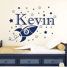 Amazon Com Impressivedecalart Custom Boy Name Wall Decals Space Rocket Star Decal Vinyl Nursery Kids Room Art Decor Home Sticker Mural Removable Ma61 22 Tallx29 Wide Home Kitchen