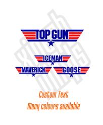 Topgun Topdad Logo Vinyl Sticker Decal Maverick Colours Car Text Goose Window Ebay