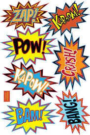 Superhero Comic Sayings Wall Decals Pow Zap Bam Hero Comics