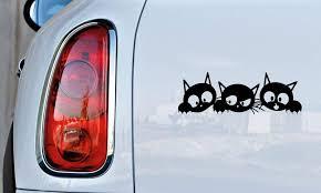 Amazon Com Three Cute Kittens Cats Car Vinyl Sticker Decal Bumper Sticker For Auto Cars Trucks Walls Windows And More Black Automotive