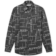 givenchy crossword print shirt black