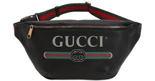 gucci print leather belt bag in black