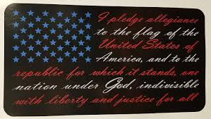 Red White Blue American Flag Pledge Of Allegiance Vinyl Sticker Decal Auto Parts And Vehicles Car Truck Graphics Decals Magenta Cl