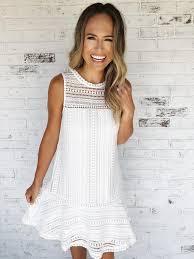 Adela. White lace sleeveless dress with ruffle bottom detail. White dress.  Lace dress. Dress with heels. Spring/Summer dress. Sleeveless dre… | Ruffle  bottom dress