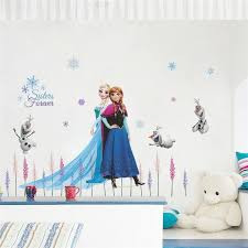 Cartoon Elsa Anna Princess Wall Stickers For Girls Room Home Decoration Diy Anime Mural Art Frozen Movie Poster Kids Wall Decal Shopee Bazar