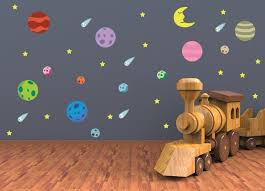 Galaxy Nursery Wall Art Outer Space Theme Vinyl Wall Decals For Nurs Kinacle