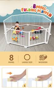 8 Panel Wooden Playpen Kids Baby Toddler Fence Play Yard White