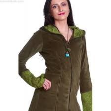 velvet faery coat long green velvet