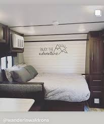 Make Your Camper Or Cabin Feel Like Home With Fun Inspirational Quotes The Nature Scene On This Wall Sticker Is A Perfect Glamper Camper Camper Decor Camper