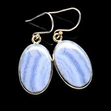 dangling blue lace agate earrings oval