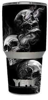 Amazon Com Skin Decal Vinyl Wrap 6 Piece Kit For Yeti 30 Oz Rambler Tumbler Cup Glowing Skulls In Smoke Kitchen Dining