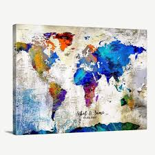 Amazon Com Custom World Map Canvas Print World Map Push Pin Travel Map Wall Art Canvas Print Personalized Alternative Wedding Guest Book Canvas Print Adventure World Map Canvas Print Handmade