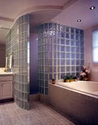 door less radius glass block shower