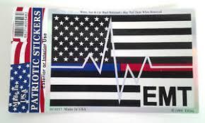 Thin Blue Red Line Us Flag Emt First Responder Window Decal Dc0057 White Black Ebay