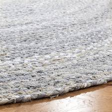 round hand woven rug in light gray