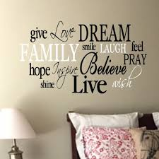 Family Word Collage Vinyl Wall Decal 2 Living Room Entry Way Vinyl Wall Decal Wordle Love Dream Hope Believe Live Wish Shine Hope Family Hh2173