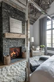 gray stone bedroom fireplace design ideas