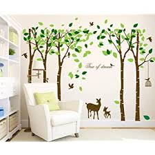 Mix Decor Tree Wall Decal 5 Trees Wall Sticker Large Family Forest Deer Woodland For Livingroom Kid Bay Nursery Room Decoration Gift Coffee Green Amazon Com