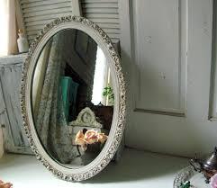 antique white vintage oval ornate