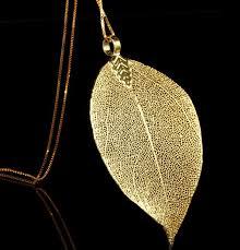 real leaf plated 24k gold pendant