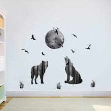 Amazon Com Decalmile Wolf Wall Stickers Moon Birds Wall Decals Removable Wall Art For Kids Room Living Room Bedroom Home Improvement