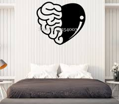 Brain And Heart Vinyl Wall Art Stickers Home Decor Bedroom Removable Wall Decals Teens Room Creative Sticker Ornament Mural S006 Removable Wall Decals Wall Art Stickersdecoration Bedroom Aliexpress