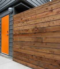 Horizontal Wooden Fences Horizontal Style Fence Made From Cedar Wood Panels Garden Fen Modern Exterior Orange Front Doors Orange Door