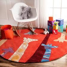 Shop Nuloom Red Handmade Kids Giraffes Area Rug Overstock 8058533 5 Round Red