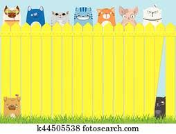 Cartoon Cats On The Yellow Fence Cute Pets Background Clipart K44505540 Fotosearch