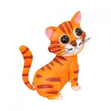 painted ginger cat garden ornament