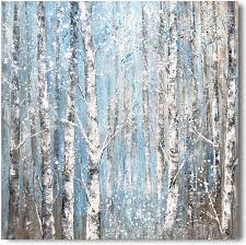 Amazon Com Yihui Arts Birch Tree Canvas Wall Art Hand Painted Modern Elegant Forest Pictures Blue Artwork For Living Room Bedroom Decoration 20wx20l Posters Prints