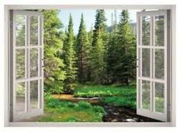 Woods Forest Trees Window 3d Wall Decal Art Mural Home Decor Canvas Vinyl W137 Ebay