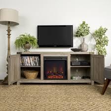 58 barn door fireplace tv stand grey