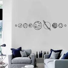Solar System Wall Decal Living Room Home Decor Space Vinyl Stickers Bedroom Science Sticker Planets Classroom Decoration Z754 Wall Stickers Aliexpress